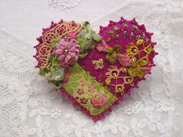 crazy quilt heart pin