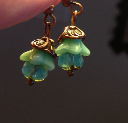 aqua bell flower earrings