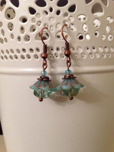 bell flower earrings aqua